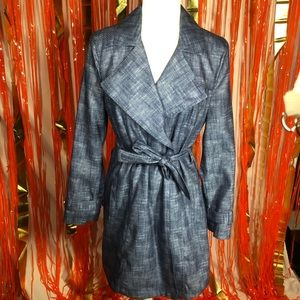 Kenneth Cole blue denim-look trench coat Small